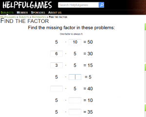 Find the factor fifth times table